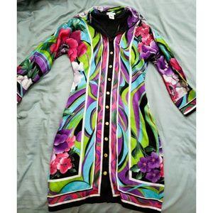 Flower power print shirt dress (100% silk)